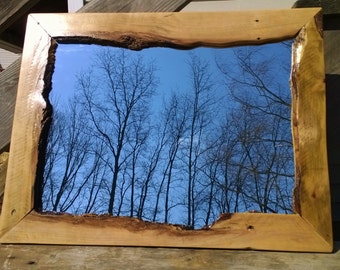 Live Edge Recycled Pallet Hardwood Hanging Wall Mirror