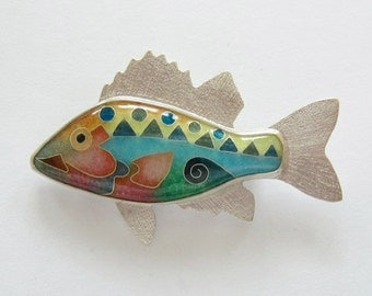 Cloisonne' Fish - Enamel Fish - Multi-Geo Fish Brooch / Pendant - chain not included - made to order.