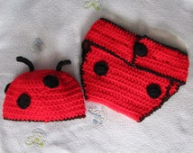 Baby Infant Hat and Diaper Cover,  LadyBug,  Crochet, Handmade (3-6 mos.)