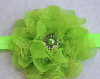 Green headband, green st.pattys headband,  lime green headband, bright green flower headband, Infant headband, bright green hair accessory