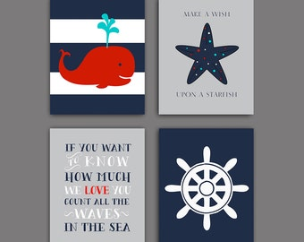 50% Off SALE.Nautical Nursery Art, Whale nursery art print, navy red Wall decor, baby boy decor set of 4, DIGITAL DONLOAD