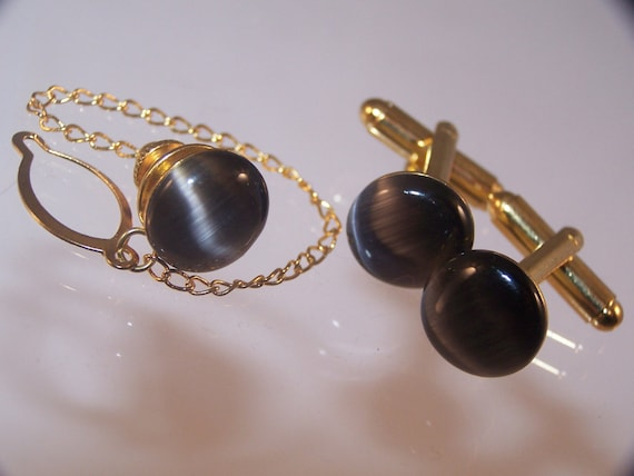 Black Cat's Eye Cufflinks & Tie Pin, Men's Anniversary Gifts, Available in Singles or Set