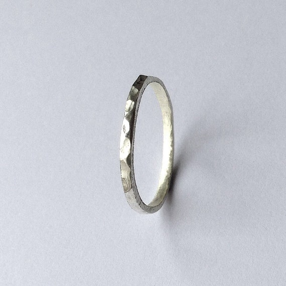 silver hammered thin ring wedding ring band