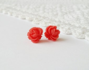 Red rose studs, small rose earrings, everyday earrings studs, red rose stud earrings, small stud earrings, red rose earrings,