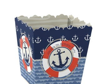 12 Ahoy Nautical Custom Small Candy Boxes - Personalized Baby Shower or Birthday Party Supplies