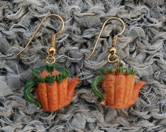 Hand Painted Ceramic Vegetable teapot shape earrings (Carrot)