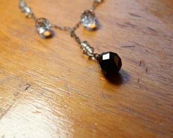 Art Deco Necklace on Silver Tone Peanut Chain with Black and Clear Glass Crystal Teardrops