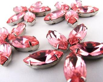 Pink Rose Montee Sew On Rhinestones Navettes Marquis Vintage Lot of 20