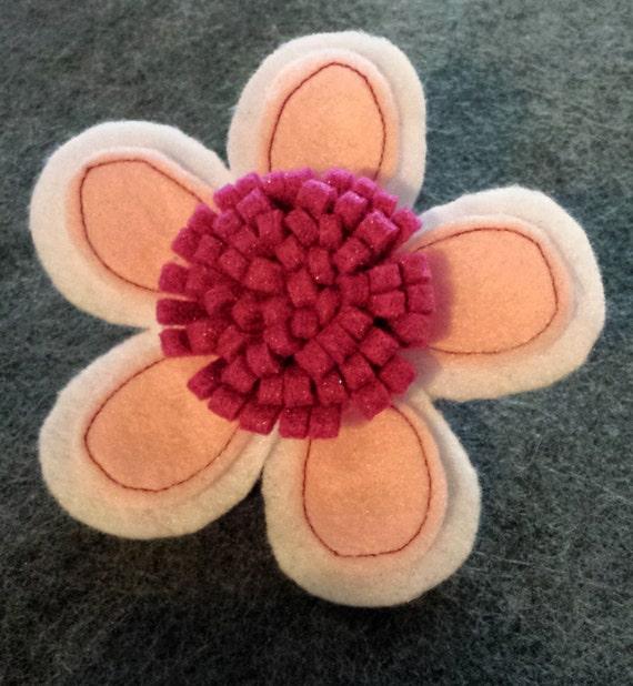 White & Pink Stitched Daisy Headband