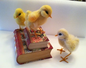 Yellow Chick, Life Size, Needle Felted