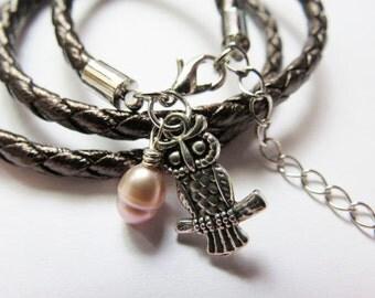 Multistrand bracelet, owl charm