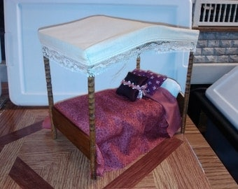 High Quality dollhouse furniture handmade hand dressed ooak canopy bed with pillows wooden ooak rare gorgeous vintage 1/12 scale