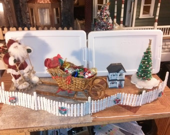 High Quality dollhouse furniture living room set Santa doll christmas tree scene handmade sleigh hats gifts w/ hallmark dollhouse 1/12 scale