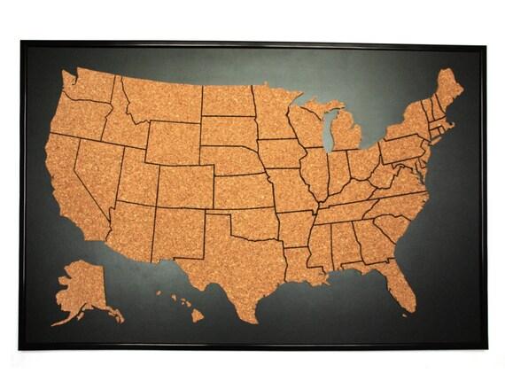 US Push Pin Corkboard With Frame Cork Sales Map Cork Travel - Corkboard us map