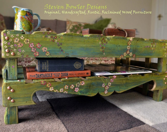 Individually Hand Painted Rustic Reclaimed Wood Coffee Table Country Cottage Garden Flower Design with Handy Under Shelf Storage