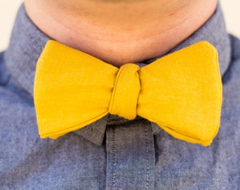 Mustard yellow linen bow tie