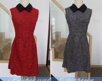 red gray dress spring autumn winter dress women dress clothing sleeveless dress wool dress vintage party dress warm dress