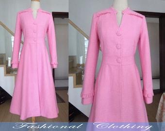 pink black wool coat winter autumn coat warm coat women clothing women coat long coat jacket outerweoar long dress wool coat