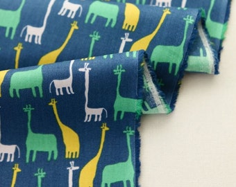 Little Giraffes Pattern  20s Soft Cotton Fabric -Blue by Yard AQ07