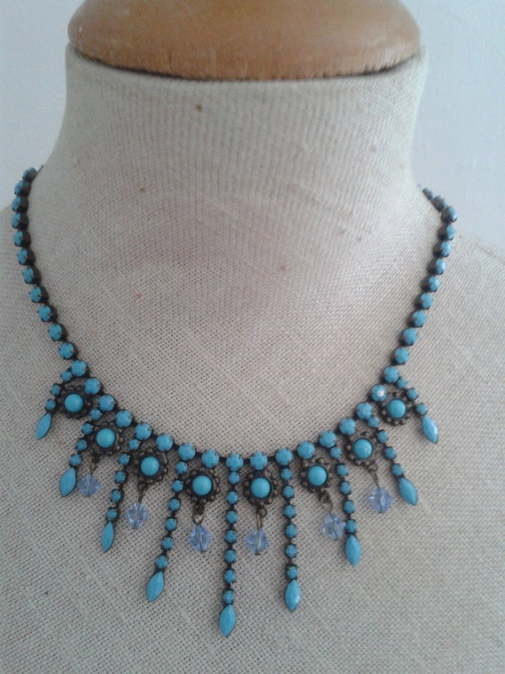 Vintage turquoise french costume jewelry necklace all the for Turquoise colored fashion jewelry