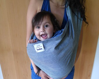 Baby Sling - Hickory Striped Denim- Small, Medium and Large, Blue Cotton Baby Carrier