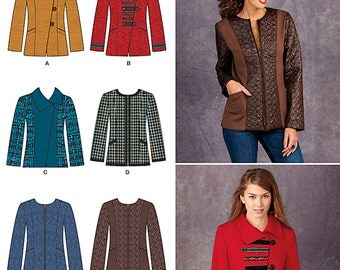 Misses' Jackets with Front and Fabric Variations Simplicity Pattern 1320