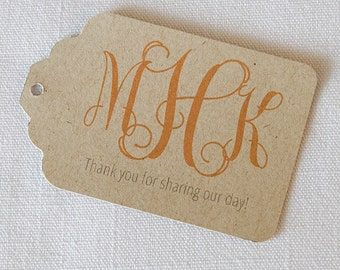 Monogram Tags, Kraft Customized Monogrammed Wedding Tags, Wedding Favor Tags  (ST-155-KR)
