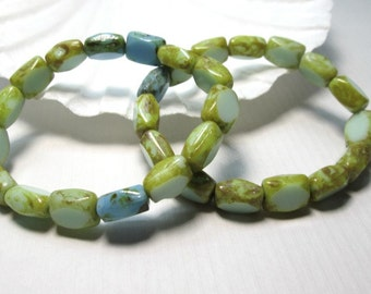 Czech Picasso Blue Green Rectangle Beads 9x7mm