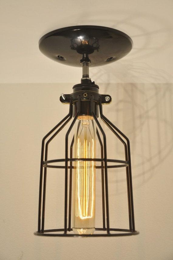 Ceiling Light Bulb Guard : Ceiling mounted bulb guard light fixture industrial modern