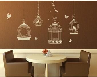 Bird Cage floral wall decal, sticker, mural, vinyl wall art