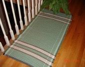 Hand Woven Rag Rug-Handwoven Cotton Rag Rug- Loom Woven- Light Green Rug- Brown,Tan Rug-27 x 53""