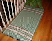 """Hand Woven Rag Rug-Handwoven Cotton Rag Rug- Loom Woven- Light Green Rug- Brown,Tan Rug-27 x 53"""""""