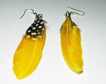 Yellow feather earings