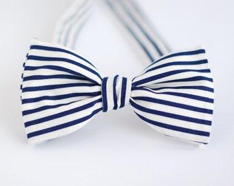 Navy Stripe Bow Tie / navy blue stripe cotton bow tie / marine style bow tie / Men's Bow Tie