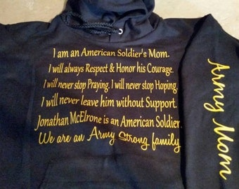 Soldiers mom prayer hoodie
