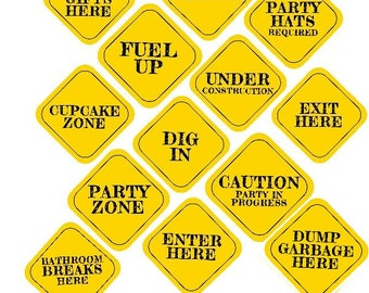 INSTANT 8x8 CONSTRUCTION Party Decor Signs Printable file Street Sign Jumbo Pack Truck Theme Party