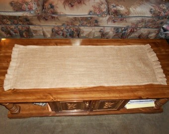 Country Burlap Tablerunner with burlap ruffle 13X36