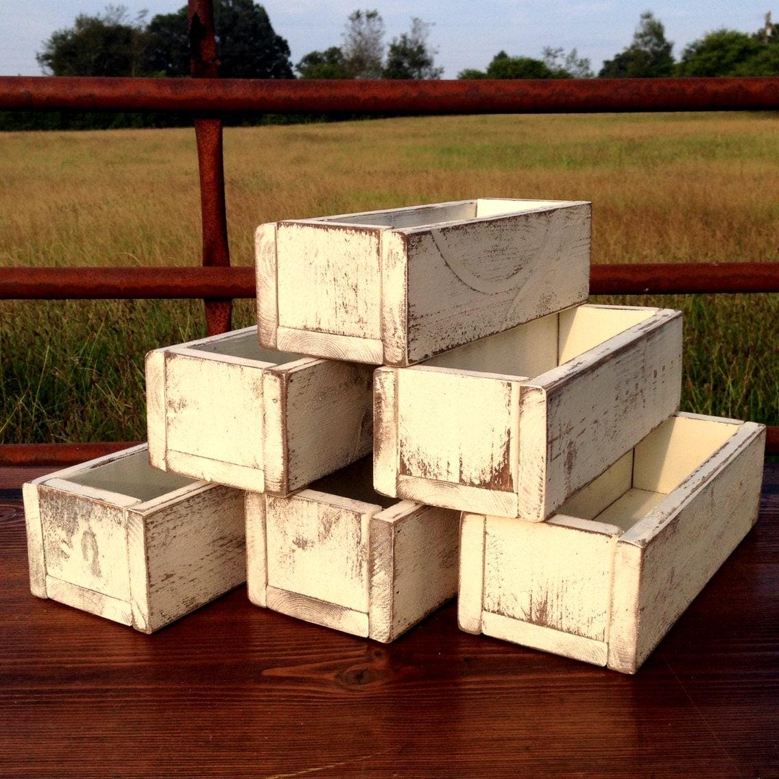 Wedding Centerpiece Set Of 6 Planter Box Distressed Wood