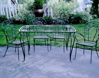 ON HOLD Vintage wrought iron Salterini Sea Isle patio dining table and four chairs