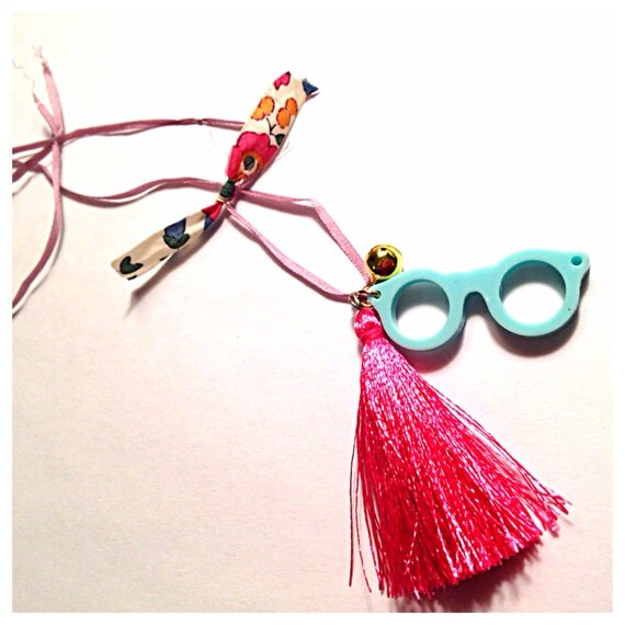 Turquoise glasses charm and small bell necklace with tassel and liberty fabric bow
