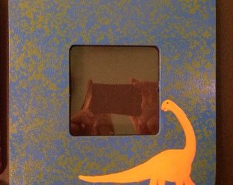 Brontosaurus dinosaur picture frame with protective insert
