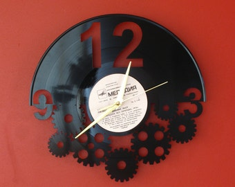 Vinyl record wall clock - steampunk, steampunk clock, steampunk art, recycled clock