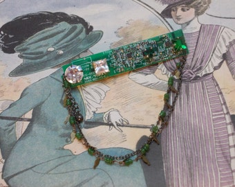 Cyberpunk Brooch - Recycled Mother Board with  upgrades and embellishments from vintage buttons and jewellery.