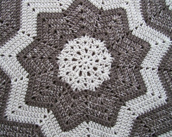 Crocheted Round Ripple Afghan Lapghan or Throw in Linen and Taupe
