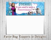 Do You Want to Build a Snowman Frozen Favor Bag Toppers, Disney Frozen Favor Bag Toppers