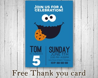 Cookie Monster Invitation, Sesame Street Invitation