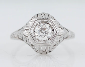Antique Engagement Ring Edwardian .58ct Old European Cut Diamond in 18k White Gold