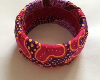 bracelet bangle wax tissu africain ethnique large bois