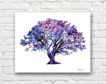 Oak Tree Art Print - Abstract Watercolor Painting - Wall Decor