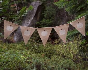 White Pumpkin Burlap Banner-Farmhouse Fall Burlap Banner-Thanksgiving Banner-Fall Banner-Halloween Banner